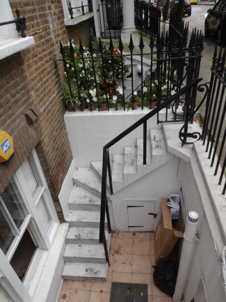 Stairs and entryway into our garden flat