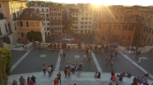 Watching the sunset on the top of the Spanish Steps
