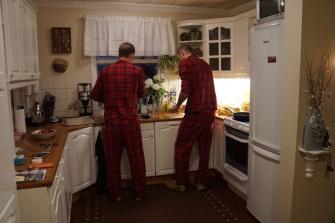 Boys cook breakfast!