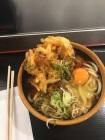 Udon noodle, veggie tempura, raw egg