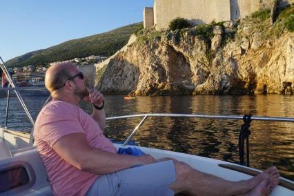 Just before sunset arriving back at old town Dubrovnik