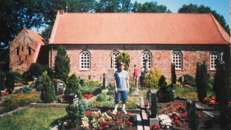 Dan at Holtland cemetary in 2000